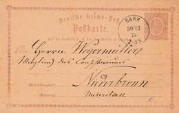 GANZSACHE BARR ELSASS 1874 - Deutschland