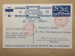 SWITZERLAND - 1928 National Fete - Basel To Zurich Luftpost - Bundesfeier Fete Nationale - Switzerland