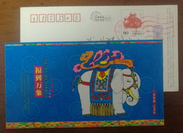 China 2009 Zhejiang New Year Greeting Postal Stationery Card Prosperous Elephant - Olifanten