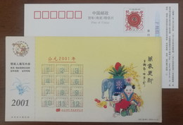 Propitious Elephant,chinese Doll,fruit Fingered Citron,China 2001 Jiangsu New Year Advertising Pre-stamped Card - Olifanten