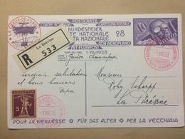 SWITZERLAND - 1928 National Fete - Geneve To La Chaux-de-Fonds Luftpost - Bundesfeier - Registered La Brevine - Switzerland