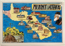 #27 Animated Map Of Mount Athos - GREECE - Postcard - Cartes Géographiques