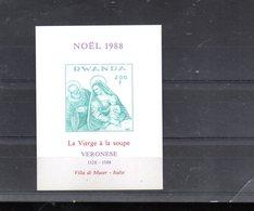 "RWANDA MICHEL BLOCS 106B** SUR NOEL 1988 AVEC UN TABLEAU DE VERONESE  ""LA VIERGE A LA SOUPE"" - Rwanda"