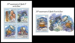 CENTRAL AFRICA 2019 - Space, Apollo 11, M/S + S/S Official Issue - Space