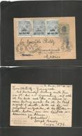 Brazil -Stationary. 1901 (25 July) S. Paulo - Mexico, Guanajuato. Via RJ - NY. 40 Rs Stat Card + 3 Provisional Fiscal Ov - Brazil