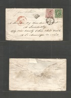 "Belgium. C. 1867-70 (3 May) Ostende - USA ""46"" Romboid. Fkd Envelope To USA, Sandusky, OH Erie Cº. Via NY With MIXED Epp - Belgium"