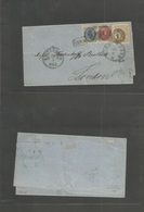 """Denmark. 1871 (28 March) CPH - UK, London. E Fkd 8 Sk Beige Perf 12 1/2 + 2sk + 4 Sk Bicolors """"1"""" Rings Tied, Franco. Sc - Danemark"""