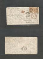 "France. 1867 (6 Nov) Nice - USA, PA, Eddington. Fkd Env 40c (x2) ""2656"" Tied, Via BOSTON / BR. PACKET (Nov 20) (xxx) Exc - France"