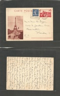 France - Stationary. 1938 (15 March) Meli - USA, Fla., Clearwater 90c Red Illust Stat Card (Tour Eiffel) + Adtl, Slogan - France