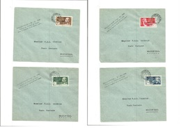 Frc - Congo. 1941 (7 March) FRANCE LIBRE + 24.10.40 Ovpts. Brazaville Local. 4 Diff Values Usages In 4 Diff Covers. With - Francia (antiguas Colonias Y Protectorados)