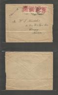 "Iceland. 1912 (Feb 3) Fkd Envelope 10 Aux Red (x4) Tied Edinburg UK Transit To CANADA, Winmipeg, Manitoba + Stline ""PAQU - Islande"