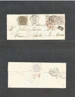 Italy Papal States. 1854 (12 Aug) Rome - France, Le Mans (20 Aug) E. Fkd 4 Baj + 8 Baj Pair, Tied Cds, All Well Margined - Italy