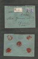 Italian Levant. 1920 (4 March) Constantinople - Switzerland, Geneve. PM 15. Registered Fkd Envelope Italy 25c Blue Pair, - Italy