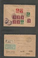 Switzerland - Xx. 1928 (2 June) Luzern - USA, Frankford, PA (4-6 July) Registered Reverse Multifkd Envelope. - Switzerland