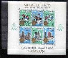 RWANDA BLOCS 13/15** SUR LES J O DE MEXICO 1968 SURCHARGE MEDAILLES D OR SPORTS D EQUIPE NATATION ATHLETISME - Rwanda