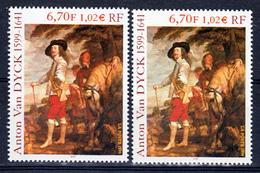 France 3289 Variété Fond Rose  Et Gris Vert Van Dyck  Neuf ** TB MNH Sin Charnela - Variétés Et Curiosités