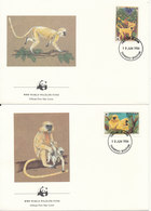 Bhutan FDC 10-6-1984 Golden Langur Monkeys Complete Set Of 4 On 4 WWF Covers With Cachet - FDC