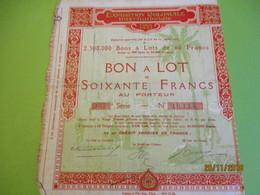 Bon à Lot 60 Fr Porteur/Exposition Coloniale Internationale/Imp Lapins & Fils/PARIS/1931                 ACT153 - Tourisme