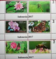 Tajikistan  2017 Flowers - Rose Orchid  Lotos  Insects -Butterflies And... 3 V + Labels  MNH - Végétaux