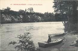 CPA 26 Drome Bourg De Péage Les Bords De L'Isère Barque Vieux Moulin Pêcheur L'Isere Près Du Moulin - Romans Sur Isere
