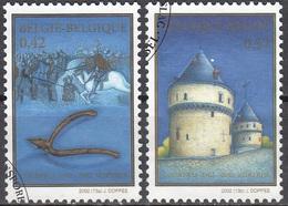 Belgique 2002 COB 3088 - 3089 O Cote (2016) 2.10 Euro Bataille Des Eperons D'Or Cachet Rond - Belgien