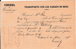 1855 - TRANSPORTS SUR LES CANAUX DU MIDI - CRUZEL à Toulouse - Documents Historiques