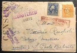 USA Registred Cover LETTRE 1916 N°203 & 208 Pour L'italie Avec Censure De Bologne Y Compris Son Texte Interieur !! - Covers & Documents