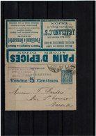 CA17- SAGE 15c CARTE LETTRE ANNONCE ED.169 CIRCULEE COUVERTURE SEULE - Cartes-lettres
