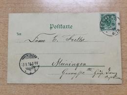 K6 Deutsches Reich 1896 Ausstellungskarte Von Berlin Nach Meiningen Kolonial-Ausstellung - Allemagne