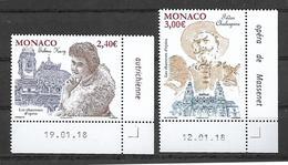 Monaco 2018 - Yv N° 3131 & 3132 ** - Les Chanteurs D'Opéra  (Selma Kurz & Fédor Chaliapine) - Neufs