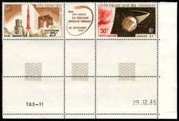COTE DES SOMALIS 1966 - Yv. PA 46A ** TB Cdf Daté  Cote= 9,00 EUR - Tryptique Fusée Diamant Et Satellite A1  ..Réf.AFA23 - Ongebruikt