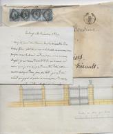 1859 - SUPERBE BANDE De 4 EMPIRE Sur LETTRE 3° ECHELON De TOULOUSE => BEZIERS - 1849-1876: Classic Period