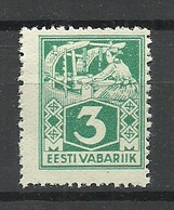 ESTLAND Estonia 1922 Michel 36 A 5 Fifth Paper (soft Porous) MNH - Estonie