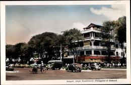 Cp Saigon Cochinchine Vietnam, Angle Boulevards Philippini Et Bonard, Véhicules - Viêt-Nam
