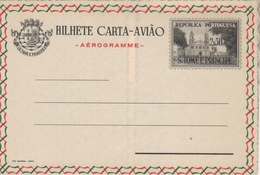 Portugal 1955 St. Thomas And Prince Islands Aerogramme, Air Letter H&G F4 MINT I - St. Thomas & Prince