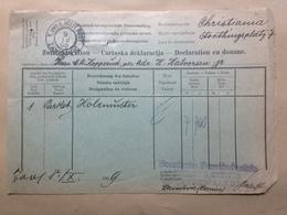 BOSNIA And HERZEGOVINA - Customs Declaration - 1909 Zavidovici To Oslo Norway (Christiania) - Bosnia And Herzegovina