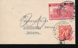 BELGIAN CONGO LEOPARD ON SMALL OPEN COVER FROM LULUABOURG 1947 TO SWITZERLAND TAXED AT THE ARRIVAL - Belgisch-Kongo