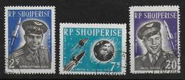 Albania 1963 Set Yv 611 - 613 Space Ruimtevaart Rocket Vostok Nikolajev Popovic - Space