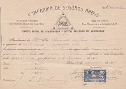 PORTUGAL - COMMERCIAL DOCUMENT - COMPANHIA DE SEGUROS ARGOS - PORTO 1909 - FISCAL STAMP - Portugal
