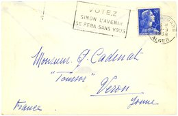 ALGER - GARE (Algérie) 1958 Oblit. Secap :  VOTEZ SINON L'AVENIR... - Algerien (1924-1962)