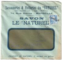 VAUCELLE Aveyron Griffe Annulation 15 F Gandon Bleu Yv 886  Lettre Entête SAVON Le NATUREL Marseille - Postmark Collection (Covers)