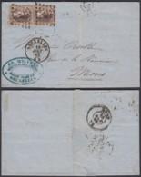 BELGIQUE COB 14B X2 SUR LETTRE DE BRUXELLES 18/08/1863 VERS MONS (DD) DC-2064 - 1863-1864 Medaillons (13/16)
