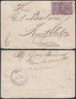 BELGIQUE COB 70 SUR LETTRE DE BRUXELLES 22/12/1896 VERS KNAUTHAIN ALLEMAGNE (DD) DC-2065 - 1894-1896 Expositions