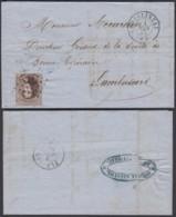 """BELGIQUE COB 14 SUR LETTRE OBL LP 78 """"CHATELINEAU"""" 01/06/1864 VERS LAMBUSARD  (DD) DC-2067 - 1863-1864 Medallions (13/16)"""