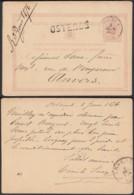 "BELGIQUE EP5c 02/06/1876 OBL AMBULANT ""OUEST 4"" + GRIFFE OSTENDE VERS ANVERS  (DD) DC-2081 - Stamped Stationery"