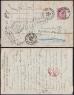 """BELGIQUE EP 10c DE MALINES 06/11/1890 VERS PARIS """"RETOUR A LA GRIFFE """"  ENCADRE BLEU TB (DD) DC-2086 - Stamped Stationery"""