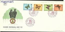 Indonesia 1963 Mi 421-424 FDC ( FDC ZS8 INS421-424 ) - Schmetterlinge