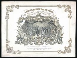 PORSELEINKAART 26 X 20 CM ANSELME ANTOINE VAN DE WALLE AUX MEMBRES D/L TRES ANCIENNE ET ILLUSTRE SOC.DE ST.HERMES - Oudenaarde