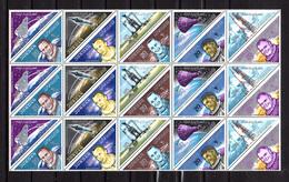 1964     Jordanie, Conquête De L'espace, 6 X  405 / 414** En Blocs Non Pliées, Cote 75 € - Jordan