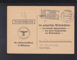 Dt. Reich Polizeipräsident Würzburg PK Nachrichtenaustausche Der Meldebehörden 1942 - Briefe U. Dokumente
